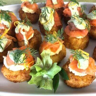 Panko crumbed potato cakes with smoked salmon and dill cream