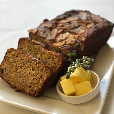 Homemade fruit loaf or banana bread
