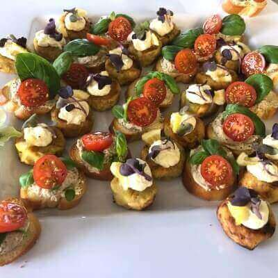 Cherry tomato basil and babaganoush bruschetta
